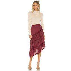 REVOLVE Tularosa Greta Skirt Cabernet Red Large